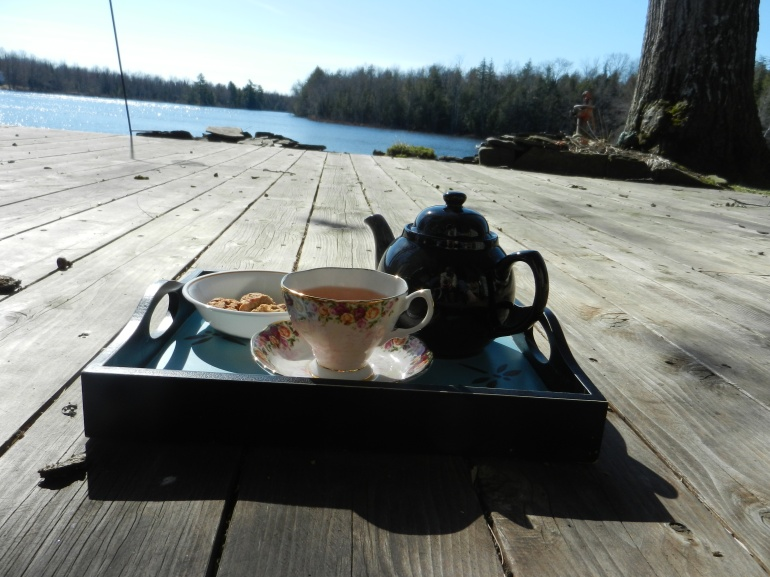 Tea outside on the deck